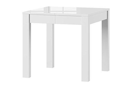 Furniture24 Tisch ausziehbar Esstisch Küchentisch Vega 80-230 cm (weiß Hochglanz)