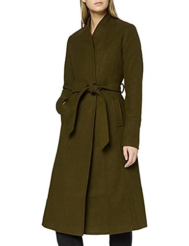Marchio Amazon - find. Cappotto Lungo con Cintura Donna, Verde (Other), 40, Label: XS