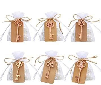 Amajoy Pack de 30 abridores de llaves de esqueleto surtidos vintage con favor de bolsa blanca Favor de bolsa Boda antigua favorece los regalos de la fiesta de cumpleaños (6 estilos, oro rosa)