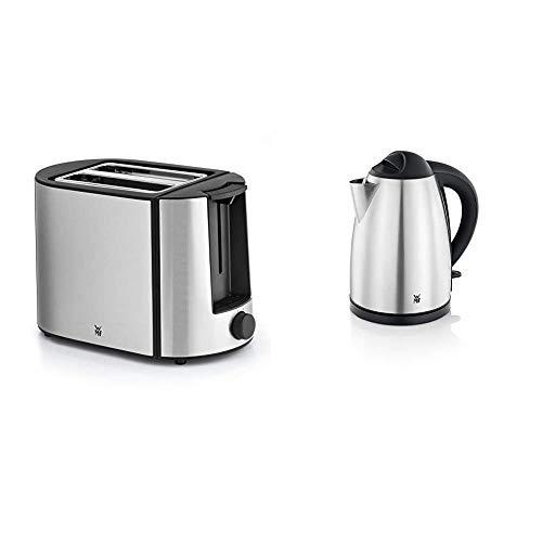 WMF Bueno Pro Toaster Edelstahl, 2 Scheiben, 6 Bräunungsstufen, 870 W, edelstahl matt & Bueno Wasserkocher Edelstahl 1,7l, elektrischer Wasserkocher mit Kalkfilter, 2400 W, edelstahl matt