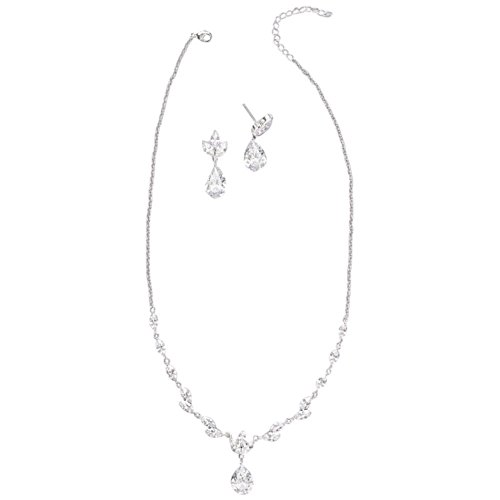 David's Bridal Leafy Cubic Zirconia Necklace and Earring Set Style 150544NE, Silver