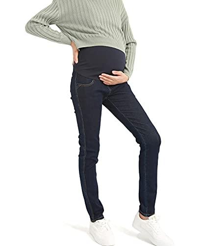 Bamans Jeans Premaman per maternità, Pantaloni Denim Pants Skinny Elasticizzati Vita Regolabile la Pancia e Comodo (Blu Scuro, Small)