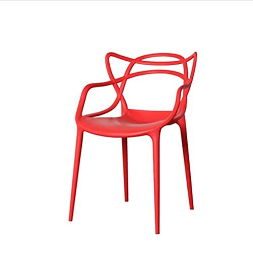 ZANZAN Silla de Tarea Hueca Silla de Oficina Silla respaldada Silla de Ocio Silla de recepción Tabla y Silla de negociación Adecuado para Restaurante cafetería (Color : Red)