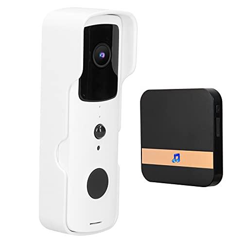 Timbre de video WiFi inalámbrico 1080P con audio bidireccional, timbre de seguridad para el hogar a prueba de agua con cámara para TUYA, timbre de intercomunicación con monitoreo remoto(EU)