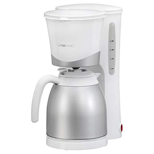 Clatronic Termiczny ekspres do kawy KA 3327, na 8 – 10 filiżanek (ok. 1 litr), z dzbankiem termicznym, biały/srebrny