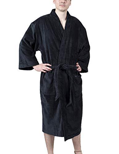 DeSen Bademantel Herren 100% Baumwolle Morgenmantel aus Baumwollfrottee mit Gürtel - Saunamantel, Weich und Bequem Hausmantel (Nachtblau)