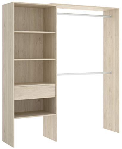 Miroytengo Vestidor Armario ropero 1 cajón habitacion Juvenil Infantil Color Natural Abierto Suit 160x40x187 cm