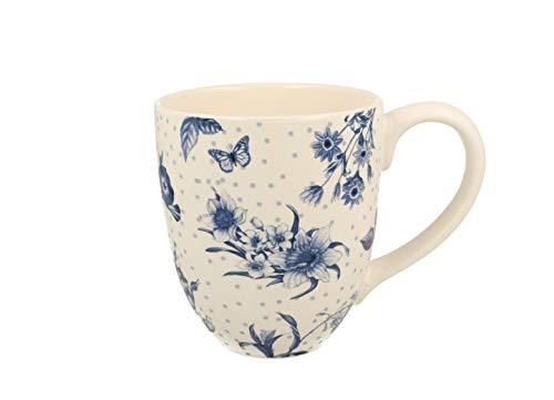 Duo Jumbotasse Becher XXL folkloristische Deko 810 ml Keramik Trinkbecher Smoothie Becher Geschenk Büro Tasse für Kaffee Teetasse Cappuccino Kaffeebecher Jumbo-Tasse Riesentasse XXXL (Blue Flowers)
