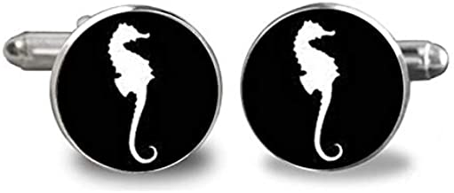 New Sea Horse Cufflinks Black White Seahorse Cufflink Handmade Gifts Groom Groomsman Animal Cuffs Glass Round Jewelry