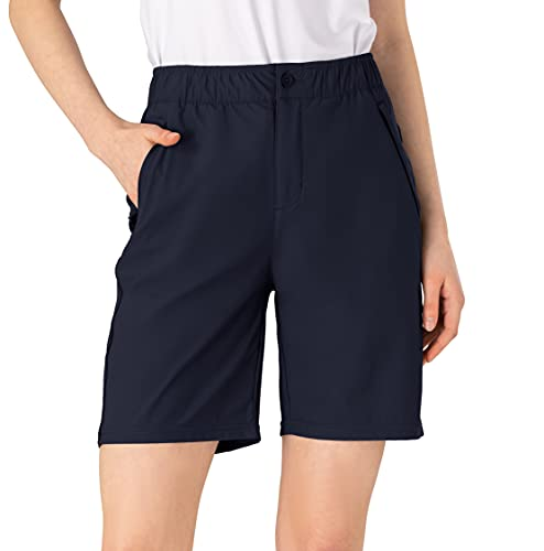 YSENTO Women Relaxed Fit Sports Golf Work Shorts Quick Dry Hiking Camping Travel Shorts 5 Pockets Navy Size Small