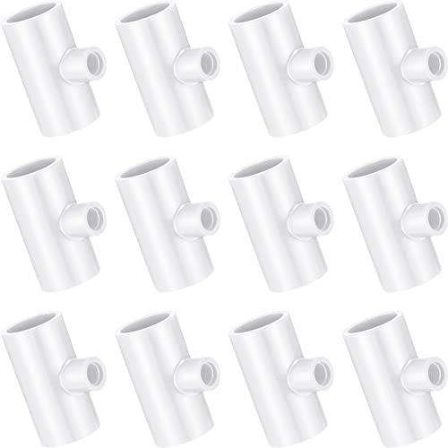 Zonon Chicken Waterer PVC Tee Fitting for Poultry Nipple Horizontal Rabbit Nipple, Fill Metal Cup for 0.84 Inch Schedule 40 Plastic Piping with 3/8 Inch FTP Thread (White,12 Pieces)