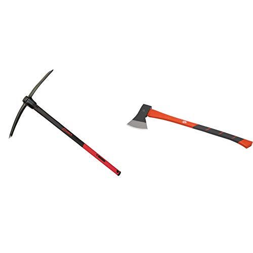 Ribimex PROJTPI15 Spitzhacke, 1.5 kg, 91 cm, Schwarz/Rot, 0.123x0.123x0.123 cm & Meister Axt 1250 g - Vibrationsarmer Stiel aus Fiberglas - Ideale Kraftübertragung - Gummiertes Griffende