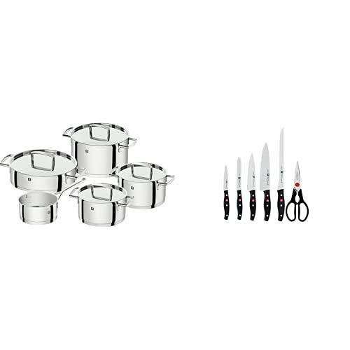 Zwilling Batería de Cocina, Acero Inoxidable, Gris Brillante + Twin Pollux Set de 5 Cuchillos y Tijera doméstica Multiusos, Color Negro