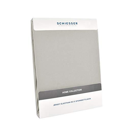 Schiesser Premium Spannbettlaken Jersey-Elasthan, 95% Gekämmte Baumwolle, 5% Elasthan, Wasserbett- / Boxspringbettgeeignet, Farbe:Silber, Größe:150 cm x 200 cm