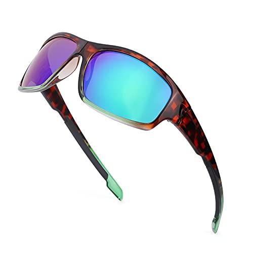 TJUTR Gafas de sol polarizadas deportivas para hombres y mujeres Ciclismo Correr Moda Espejo Lente Protección UV400 (Marco de Tortuga/Lente de Espejo Verde)