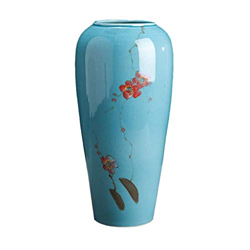 jinyi2016SHOP Maceta Chino de cerámica Pintada de jarrón decoración Mesa de Comedor Mesa de Flores de Mesa Sala de Estar decoración Azul jarrón con Agujero De Drenaje Macetas (Size : C)