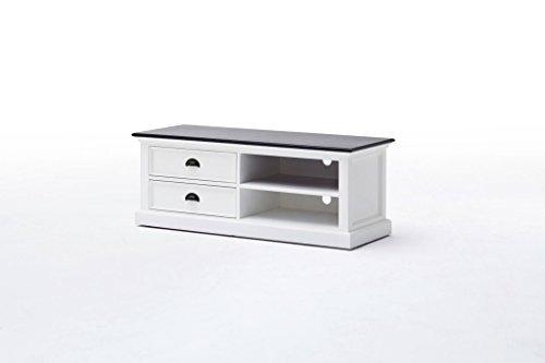 Preisvergleich Produktbild Halifax Contrast Landhaus Möbel TVschrank Weiß Abdeckplatte Schwarz Phonoschrank Multimedia
