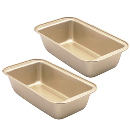 Cabilock 2pcs Mini Loaf Pans Nonstick Bread Pan Toast Mold corrugated loaf Pan Easy launch and baking mould for Homemade Cakes, Breads, Meatloaf and Quiche(Golden)