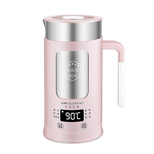 0.6L Multi-fonction Bouilloire Électrique En Acier Inoxydable Préservant La Santé Pot Chauffe-eau Tasse Cuisson Automatique Théière 100 V-240 V (Color : Pink)