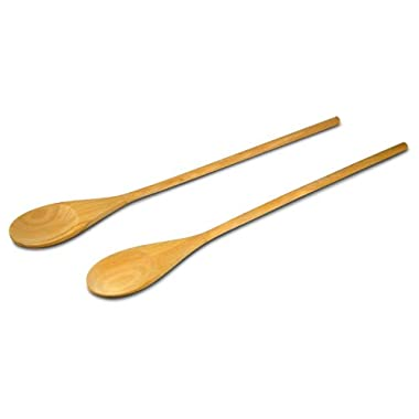 18-Inch Long Handle Wooden Cooking Mixing Spoon, Birch Wood  Set of 2