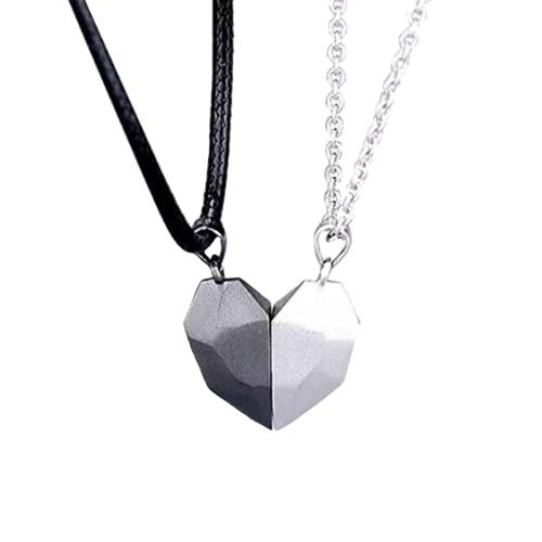 Shop-STORY – Collar con colgante magnético que forma un corazón para pareja de enamorados