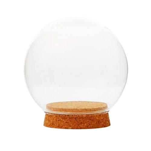 Cubierta con Forma De Bola De Cristal Botella De Terrario Suculenta Pantalla De Terrario Horizontal Campana De Vidrio con Corcho De Madera - 15cm