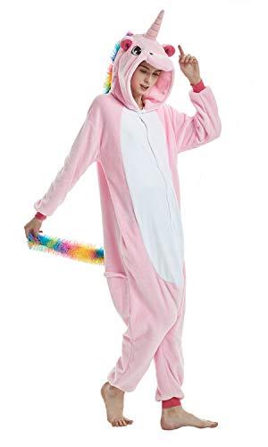 Yuepin Onesie Tier Pyjama, Unisex Erwachsene Einhorn Pyjamas Cosplay Kostüm Cartoon Nachtwäsche, S, Pink