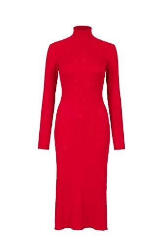 Steps Damen Alex Figurbetontes Kleid Mit Rollkragen - Gerippter Stretch-Stoff - Rot - Größe Xs Bis XXL Chinesisches Rot, l