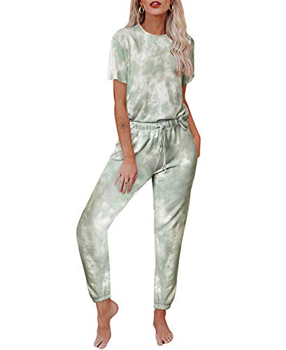 Women's Tie Dye Pajamas Set Tops and Long Pants PJ Sets Loungewear Sweatsuit