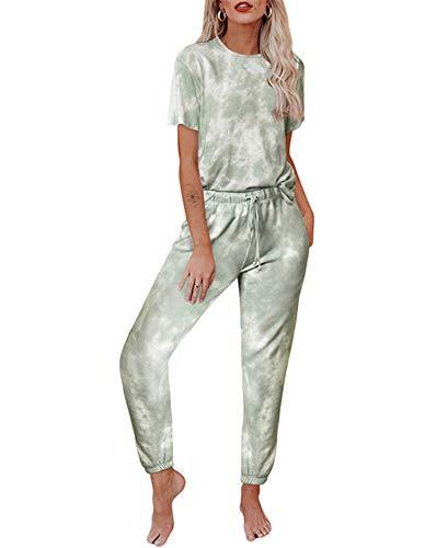 Women's Tie Dye Pajamas Set Tops and Long Pants PJ Sets Loungewear Sweatsuit