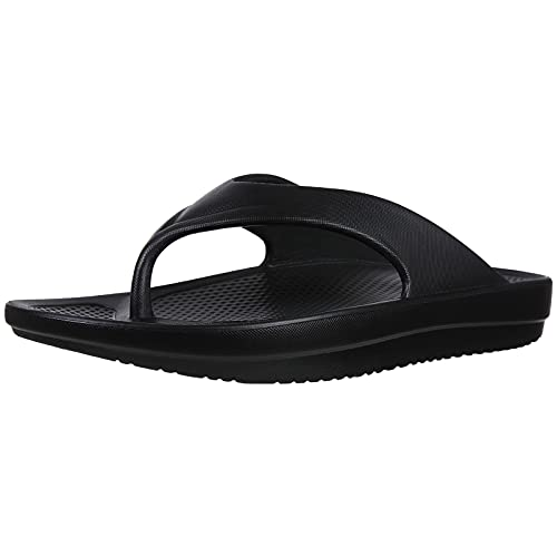 Beslip Women's Orthotic Flip Flops with Arch Support Soft Thong Pillow Sandals for Plantar Fasciitis, Black Women Size 10-11