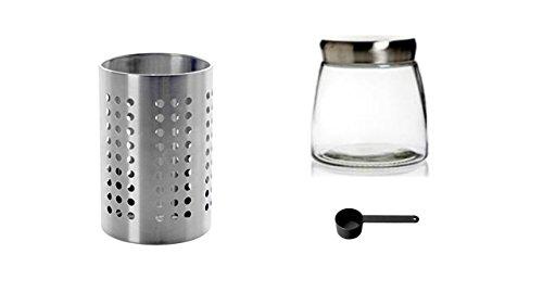 I IKEA ORDNING Küchenutensilienhalter, Edelstahl 13 x 12 x 12 cm + Conny Clever® Aromadose Kaffeedose 500gr. Glas mit Löffel