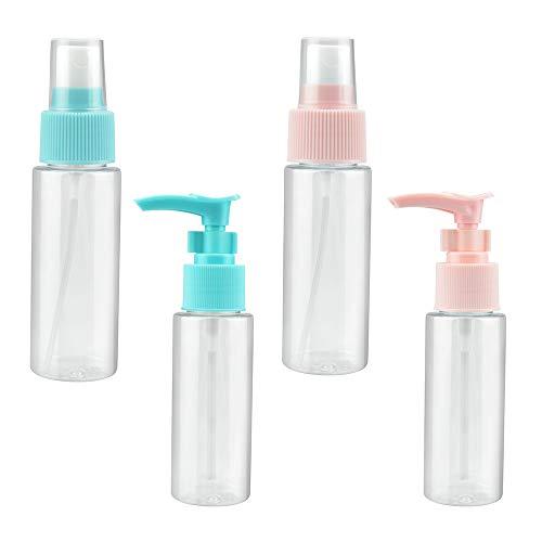 PERFETSELL 2 Pcs Transparente Botella de Spray Plástico 50ml + 2 Pcs Botella de Loción 40 ml Botes Rellenables Viaje Botella Spray Pulverizador Botellas de Plastico para Viaje Maquillaje(Azul y Rosa)
