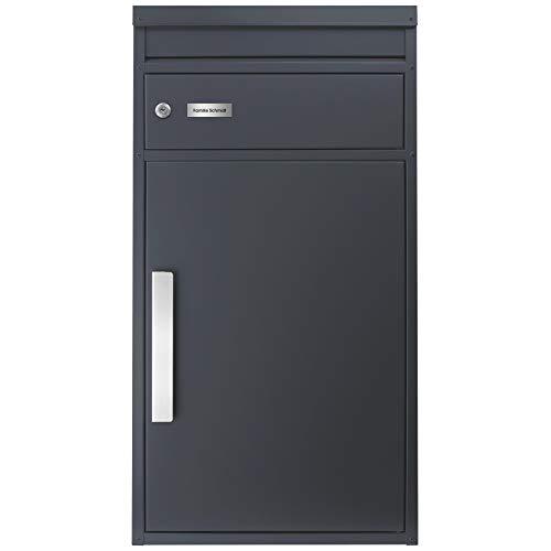 Paketbriefkasten SafePost 65MG mit Gravur Namensschild in Edelstahl/anthrazit RAL 7016 Design-Paketkasten für alle Paketdienste Paketbox grau mit Briefkasten Standbriefkasten modern