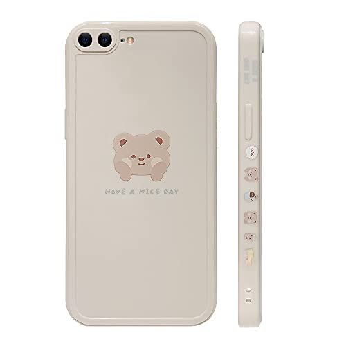 Ownest Compatible with iPhone 7 Plus/8 Plus Case Cute Painted Design Brown Bear with Cheeks for Women Girls Fashion Slim Soft Flexible TPU Rubber for iPhone 7 Plus/8 Plus-Beige