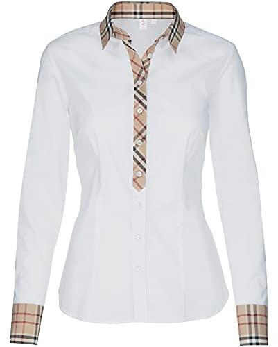 Seidensticker Damen City 1/1-LANG Bluse, Weiß (Weiß 01), Gr 38
