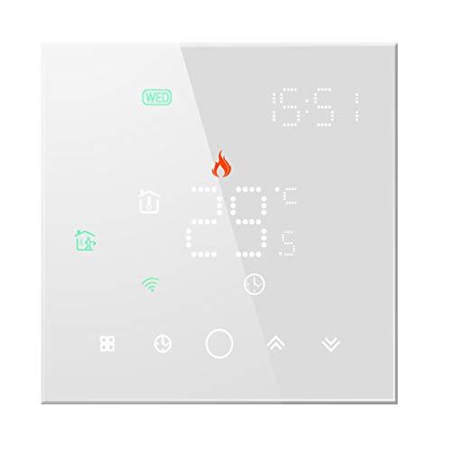 Qiumi Smart WiFi Thermostat Temperaturregler für elektrische Fußbodenheizung Arbeit mit Alexa Google Home, LED-Matrix-Lichtanzeige schützt Ihre Augen,16A 95~240 V AC