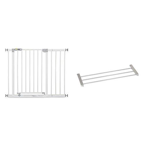 Hauck 597026- Cancello di sicurezza apribile e bloccabile, 75 - 81 cm, Con prolunga 21 cm + Hauck Wood Lock Estensione per Cancellato di Sicurezza per Bambini, 21 cm, Cani e Gatti, Espandibile
