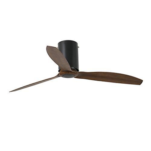 Faro Barcelona 32042WP- MINI TUBE FAN Ventilador de techo negro mate/madera con motor DC SMART (Receptor Smart 34150 no incluido)