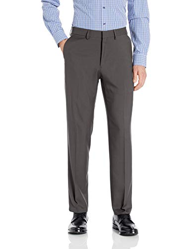 Haggar Men's Premium Comfort Straight Fit Flat Front Dress Pant, dark grey, 33Wx32L