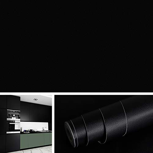 Livelynine 40CMx10M Carta da Parati Cucina Lavabile Adesiva Adesivo per Mobili Nero Impermeabile Adesivi per Cucina Pellicole Adesive per Mobili Tinta Unita Autoadesiva Carta Parati Camera da Letto