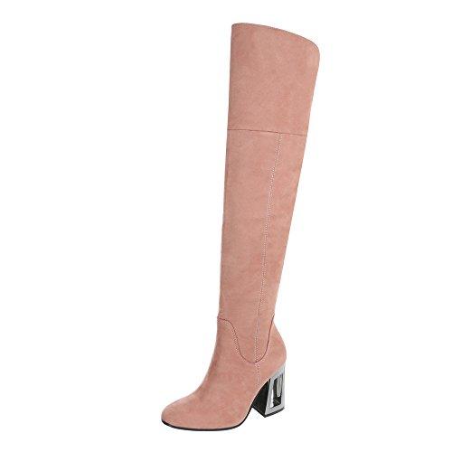 Ital-Design Overknees Damen-Schuhe Overknees Pump High Heels Reißverschluss Stiefel Pink, Gr 39, Dd37-