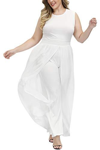 Pink Queen Women Plus Size Sleeveless Long Chiffon Overlay Dress White Jumpsuit White X-Large