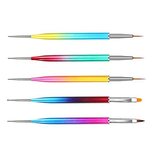 5 pinceles de uñas, cuidado de uñas, manicura, dibujo, 5 unidades, cepillo de uñas de doble cabeza degradado pluma de manicura pintura pluma para el hogar Nail Art Salon