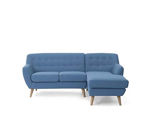 Retro Ecksofa Polsterbezug Beine aus Holz dekorative Versteppung blau Motala
