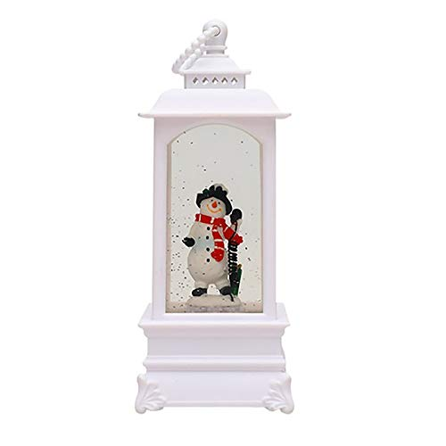 Christmas Snow Wish Music Box Wind lamp Ornament Portable lamp Setting Props, Home Decor, for Christmas Day (E)