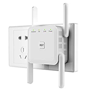 Getue WiFi Booster Range Extender Wireless WiFi Extender Booster 1200Mbps 2.4GHz/5GHz Dual Band WiFi Signal Booster with 4 External Antennas,Compatible with All Routers,UK Plug