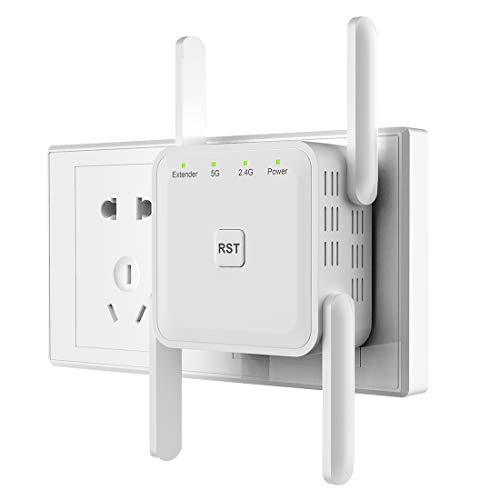 Getue Repetidor WiFi Amplificador Señal WiFi Repetidor Amplificador WiFi 2.4 GHz y 5GHz Repetidor Señal WiFi 1200Mbps,Admite Modo Ap/Repetidor/Router, Compatible con Enrutador Inalámbrico,Blanco