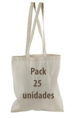Bolsa Tela 100% Algodón Biodegradable,Lavable,Reutilizable-Asas Largas de 75 cm. Ropa,Manualidades,Alimentos,Verduras, ir de compras,Medidas 38x42cm,Densidad 145gr/m2,Natural (Pack 25 pcs)