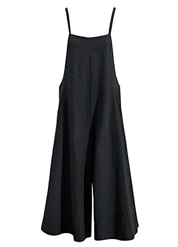 Romacci Damen Baumwolle Wide Leg Jumpsuit Spaghetti Strap Einfarbig Ärmellos Strappy Romper Länge Overalls (M, Schwarz)
